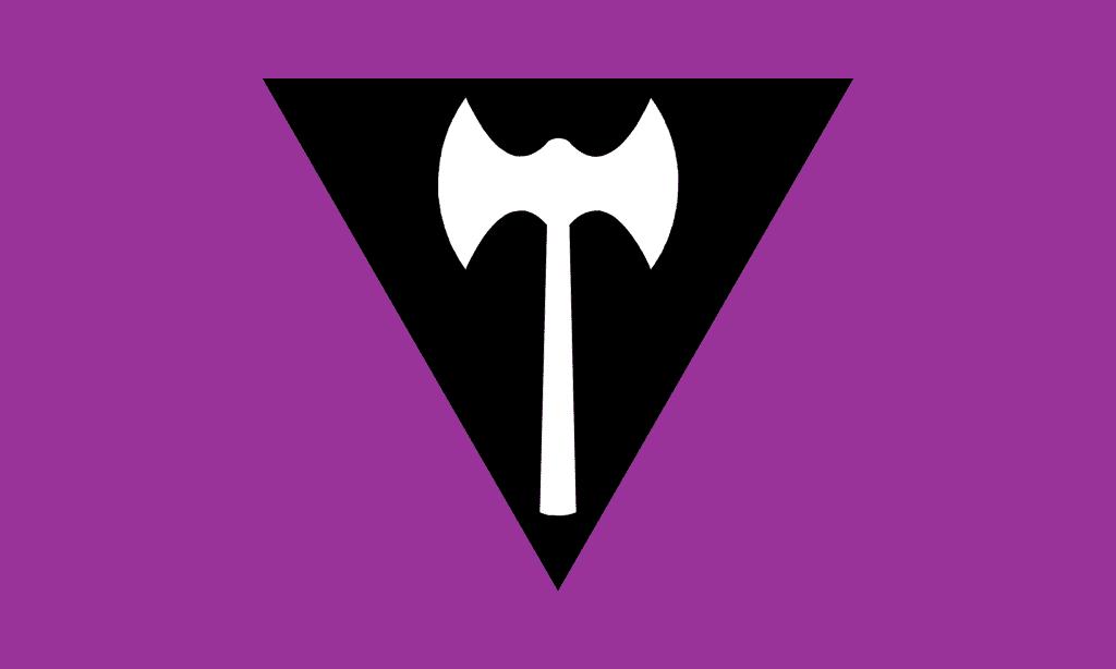 Lesbische Prideflag. Weiße Doppelaxt in einem schwarzen Dreieck auf lilanem Grund.